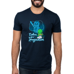 Explore Your Imagination Men's t-shirt model TeeTurtle navy t-shirt featuring a green turtle drawing a turtle in battle armor holding a sword with an imagination bubble showing his drawing