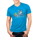 Grogu and R2-D2 mens tshirt model officially licensed cobalt blue tshirt featuring grogu and R2 hanging out