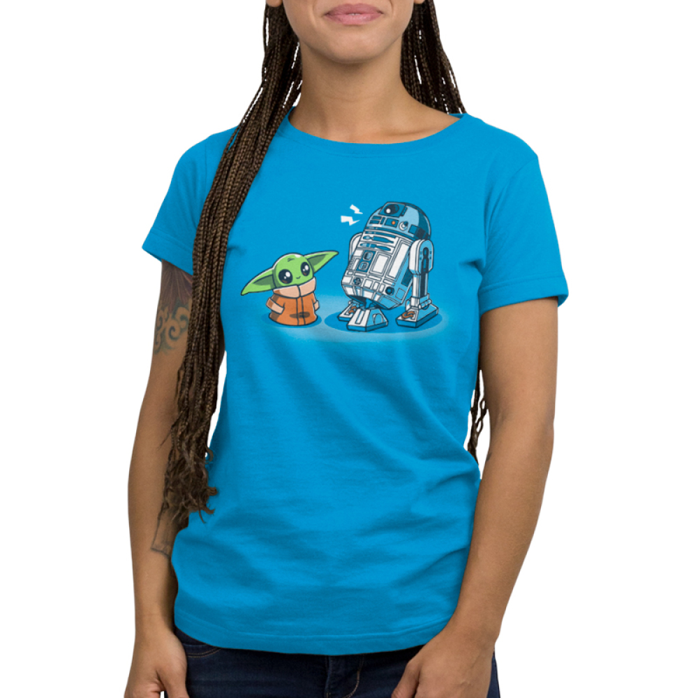 Grogu and R2-D2 womens tshirt model officially licensed cobalt blue tshirt featuring grogu and R2 hanging out