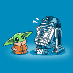 Grogu and R2-D2 tshirt officially licensed cobalt blue tshirt featuring grogu and R2 hanging out