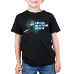 I am A Jedi kids tshirt model officially licensed black tshirt featuring Luke with his green lightsaber