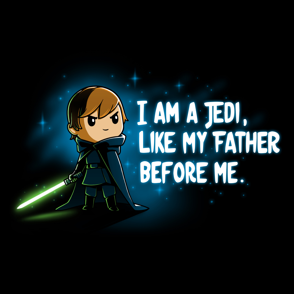I am A Jedi tshirt officially licensed black tshirt featuring Luke with his green lightsaber