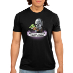 Parting is Such Sweet Sorrow mens tshirt model officially licensed black tshirt featuring Mando holding Grogu