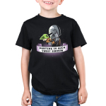 Parting is Such Sweet Sorrow kids tshirt model officially licensed black tshirt featuring Mando holding Grogu