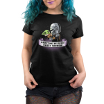 Parting is Such Sweet Sorrow womens tshirt model officially licensed black tshirt featuring Mando holding Grogu