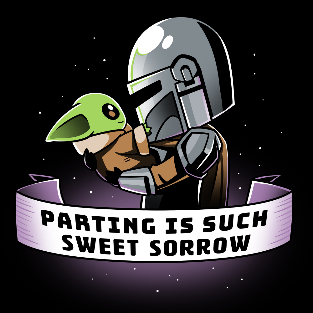 Parting is Such Sweet Sorrow tshirt officially licensed black tshirt featuring Mando holding Grogu