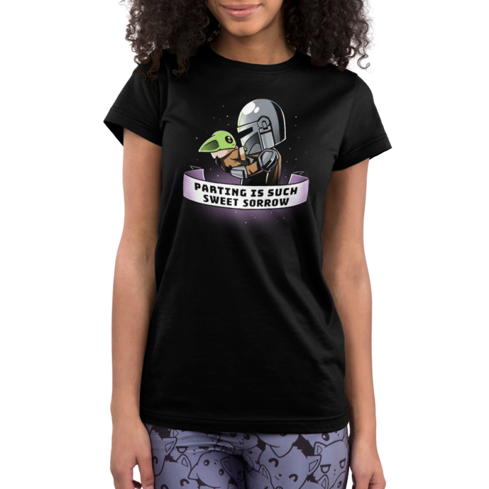 Parting is Such Sweet Sorrow juniors tshirt model officially licensed black tshirt featuring Mando holding Grogu