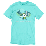 Gotta Explore Everything t-shirt TeeTurtle caribbean blue t-shirt featuring a white cat in a green floppy cap and green vest holding a sword and a scroll running with mountains, trees, and birds behind him
