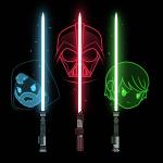 Obi Wan Kenobi, Darth Vader & Luke Skywalker tshirt officially licensed black tshirt featuring Obi Wan Kenobi, Darth Vader & Luke Skywalker with their lightsabers