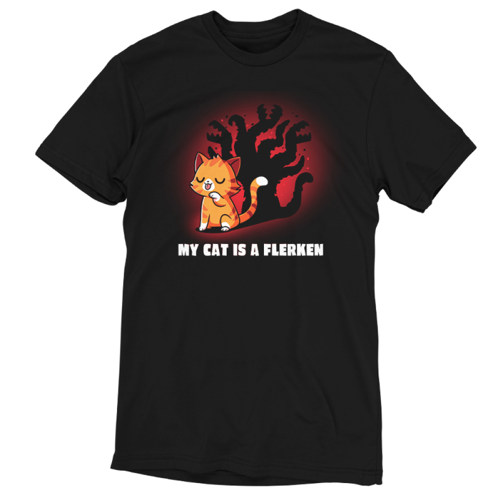 My Cat is a Flerkin tshirt officially licensed black tshirt featuring Goose from Captain Marvel and a shadow that reveals his Flerken alien state