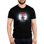Spider-Man Symbiote (Glow) mens tshirt model officially licensed black glow tshirt featuring spiderman and venom