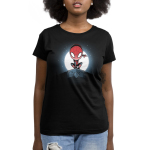 Spider-Man Symbiote (Glow) womens tshirt model officially licensed black glow tshirt featuring spiderman and venom