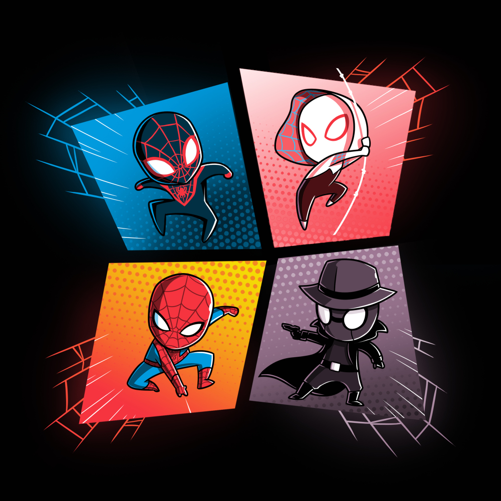 The Spider-Verse tshirt officially licensed black tshirt featuring spiderman, spider gwen, miles morales and spider-man noir all in a webbed grid