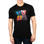 The Spider-Verse mens tshirt model officially licensed black tshirt featuring spiderman, spider gwen, miles morales and spider-man noir all in a webbed grid