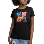 The Spider-Verse womens tshirt model officially licensed black tshirt featuring spiderman, spider gwen, miles morales and spider-man noir all in a webbed grid