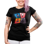 The Spider-Verse juniors tshirt model officially licensed black tshirt featuring spiderman, spider gwen, miles morales and spider-man noir all in a webbed grid