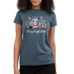 Crazy Craft Lady Junior's t-shirt model TeeTurtle denim blue t-shirt featuring a gray stripped cat in a pink cat sweaters with tons of cat crafts all around them - paintings, pictures, stuffed animals, etc.