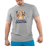 Clearance Crafter Men's t-shirt model TeeTurtle silver t-shirt featuring a crazy looking orange cat with big eyes and a big smile holding pencils and paint brushes with a bunch of sale tags on them