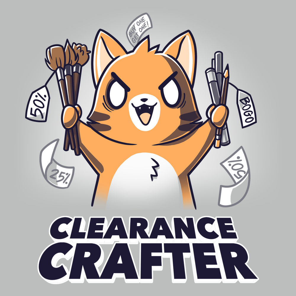 Clearance Crafter t-shirt TeeTurtle silver t-shirt featuring a crazy looking orange cat with big eyes and a big smile holding pencils and paint brushes with a bunch of sale tags on them