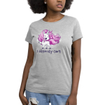 I Glitterally Can't Women's t-shirt model TeeTurtle silver t-shirt featuring a sarcastic looking white unicorn with a purple mane with sparkles all around them with its eyes closed, mouth open like its talking, and hoof up in the air