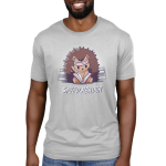Speed Reader Men's t-shirt model TeeTurtle silver t-shirt featuring a hedgehog wearing a white and read sweat band on its head turning pages of a book in its lap very quickly with sweat coming off its head and stacks of books behind them