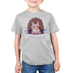 Speed Reader Kid's t-shirt model TeeTurtle silver t-shirt featuring a hedgehog wearing a white and read sweat band on its head turning pages of a book in its lap very quickly with sweat coming off its head and stacks of books behind them