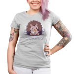 Speed Reader Junior's t-shirt model TeeTurtle silver t-shirt featuring a hedgehog wearing a white and read sweat band on its head turning pages of a book in its lap very quickly with sweat coming off its head and stacks of books behind them