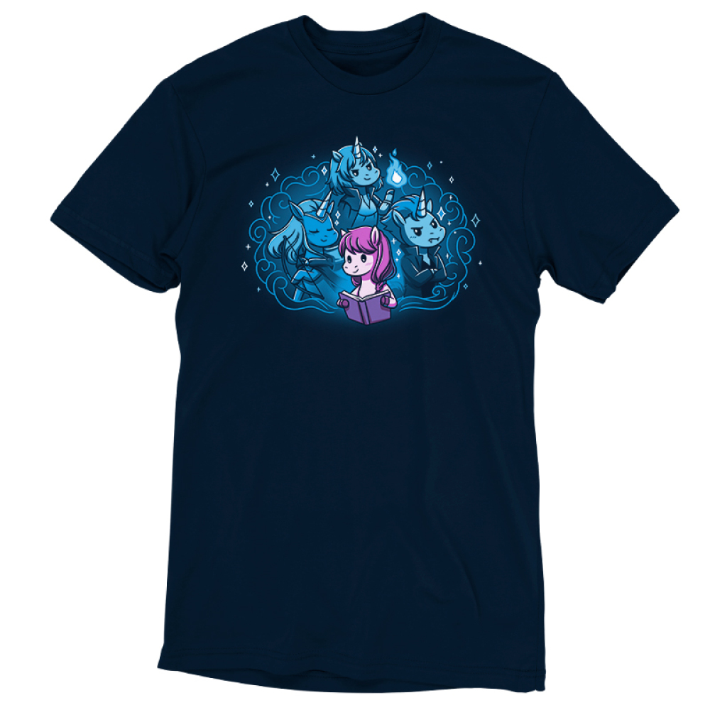 I Love My Fictional Boyfriends t-shirt TeeTurtle navy t-shirt featuring a purple horse reading a book with a big imagination bubble behind her of three male unicorns