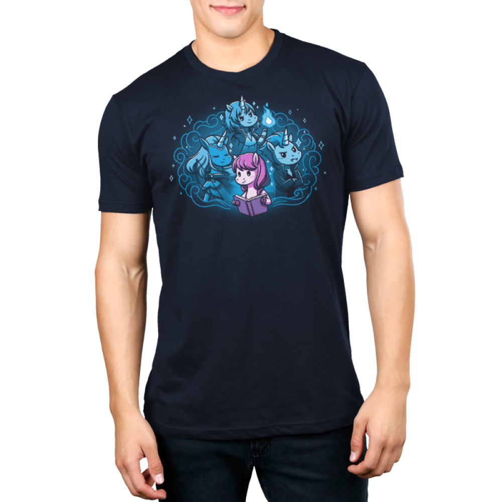 I Love My Fictional Boyfriends Men's t-shirt model TeeTurtle navy t-shirt featuring a purple horse reading a book with a big imagination bubble behind her of three male unicorns