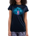 I Love My Fictional Boyfriends Junior's t-shirt model TeeTurtle navy t-shirt featuring a purple horse reading a book with a big imagination bubble behind her of three male unicorns