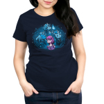 I Love My Fictional Boyfriends Women's t-shirt model TeeTurtle navy t-shirt featuring a purple horse reading a book with a big imagination bubble behind her of three male unicorns