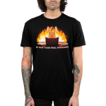 Is That Your Final Decision? Men's t-shirt model TeeTurtle black t-shirt featuring an evil looking bunny sitting behind a tabletop game board with papers and game rules next to him with a big fire behind him