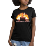 Is That Your Final Decision? Women's t-shirt model TeeTurtle black t-shirt featuring an evil looking bunny sitting behind a tabletop game board with papers and game rules next to him with a big fire behind him