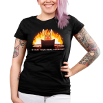 Is That Your Final Decision? Junior's t-shirt model TeeTurtle black t-shirt featuring an evil looking bunny sitting behind a tabletop game board with papers and game rules next to him with a big fire behind him