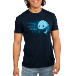 Whale Whale Whale Men's t-shirt model TeeTurtle navy t-shirt featuring a light blue whale with its fins on its hips giving a sarcastic look with a smile