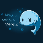 Whale Whale Whale t-shirt TeeTurtle navy t-shirt featuring a light blue whale with its fins on its hips giving a sarcastic look with a smile