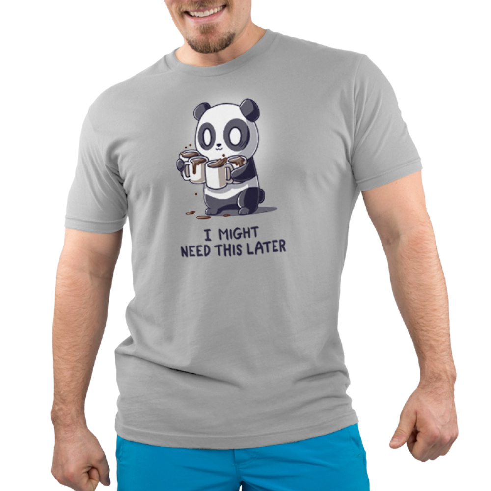 I Might Need This Later (Coffee) Men's t-shirt model TeeTurtle silver t-shirt featuring a wide-eyed panda giving a little smiling looking a bit panicked holding four cups of spilling coffee in its arms