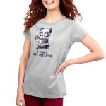 I Might Need This Later (Coffee) Women's t-shirt model TeeTurtle silver t-shirt featuring a wide-eyed panda giving a little smiling looking a bit panicked holding four cups of spilling coffee in its arms