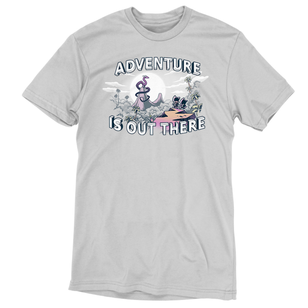 Adventure is Out There t-shirt TeeTurtle silver t-shirt featuring a jungle landscape with two cats with backpacks looking at a big dragon on top of a mountain with a sun and clouds behind him all on top of the tree line