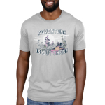 Adventure is Out There Men's t-shirt model TeeTurtle silver t-shirt featuring a jungle landscape with two cats with backpacks looking at a big dragon on top of a mountain with a sun and clouds behind him all on top of the tree line