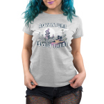 Adventure is Out There Women's t-shirt model TeeTurtle silver t-shirt featuring a jungle landscape with two cats with backpacks looking at a big dragon on top of a mountain with a sun and clouds behind him all on top of the tree line