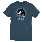 Orcward t-shirt TeeTurtle denim blue t-shirt featuring an orca whale floating in water looking anxious with its fins at its side and a sweat droplet on its face with bubbles around them