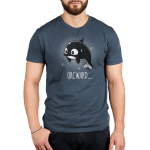 Orcward Men's t-shirt model TeeTurtle denim blue t-shirt featuring an orca whale floating in water looking anxious with its fins at its side and a sweat droplet on its face with bubbles around them