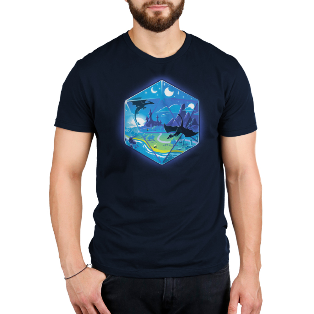 D20 Landscape Men's t-shirt model TeeTurtle navy t-shirt featuring the outline of a D20 dice a fantasy landscape inside including moons, a castle in a green prairie, mountains, and two dragons flying in the sky