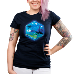 D20 Landscape Junior's t-shirt model TeeTurtle navy t-shirt featuring the outline of a D20 dice a fantasy landscape inside including moons, a castle in a green prairie, mountains, and two dragons flying in the sky