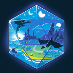 D20 Landscape t-shirt TeeTurtle navy t-shirt featuring the outline of a D20 dice a fantasy landscape inside including moons, a castle in a green prairie, mountains, and two dragons flying in the sky