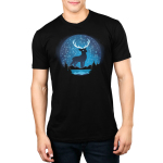 Celestial Stag (Glow) Men's t-shirt model TeeTurtle black t-shirt featuring a big black stag with in the night sky above a lake surrounded by trees and mountains with constellations all around him