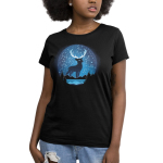 Celestial Stag (Glow) Women's t-shirt model TeeTurtle black t-shirt featuring a big black stag with in the night sky above a lake surrounded by trees and mountains with constellations all around him