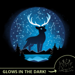 Celestial Stag (Glow) t-shirt TeeTurtle black t-shirt featuring a big black stag with in the night sky above a lake surrounded by trees and mountains with constellations all around him