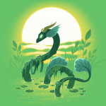 Swamp Dragon t-shirt TeeTurtle apple green t-shirt featuring a dark green dragon coming out of a green swamp with miss and leaves draping over its body with a sun and plants behind him